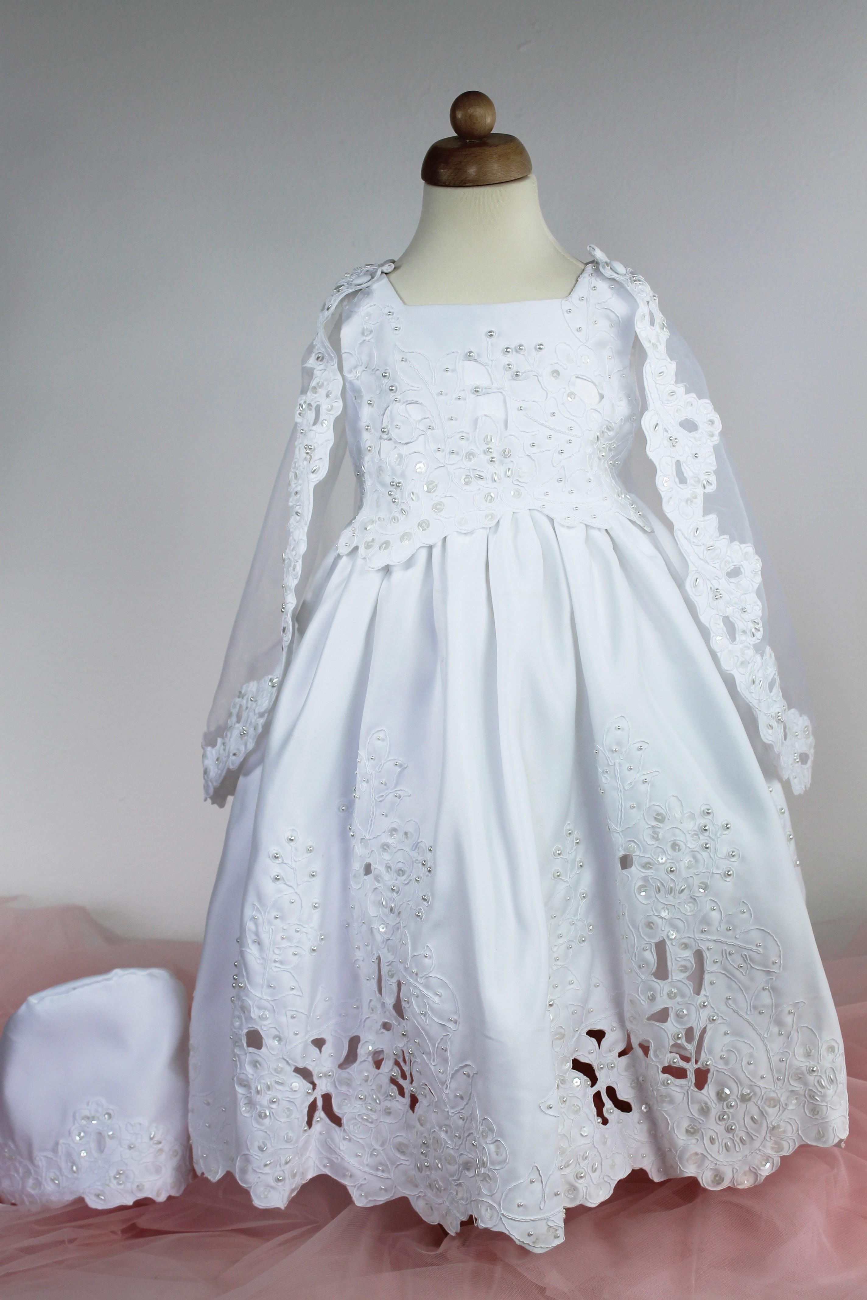 Robe de Baptme fille pas chre - Vtement blanc bb
